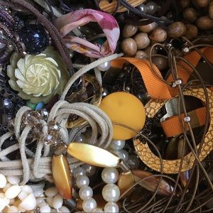 5lb Craft lot Jewelry Gold Chain, Pearls, Leather